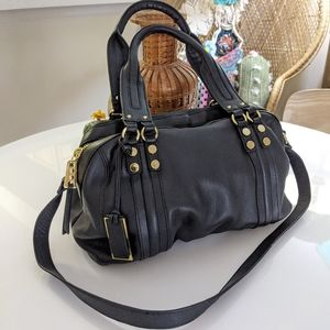 Pour La Victiore Black Leather Satchel Handbag